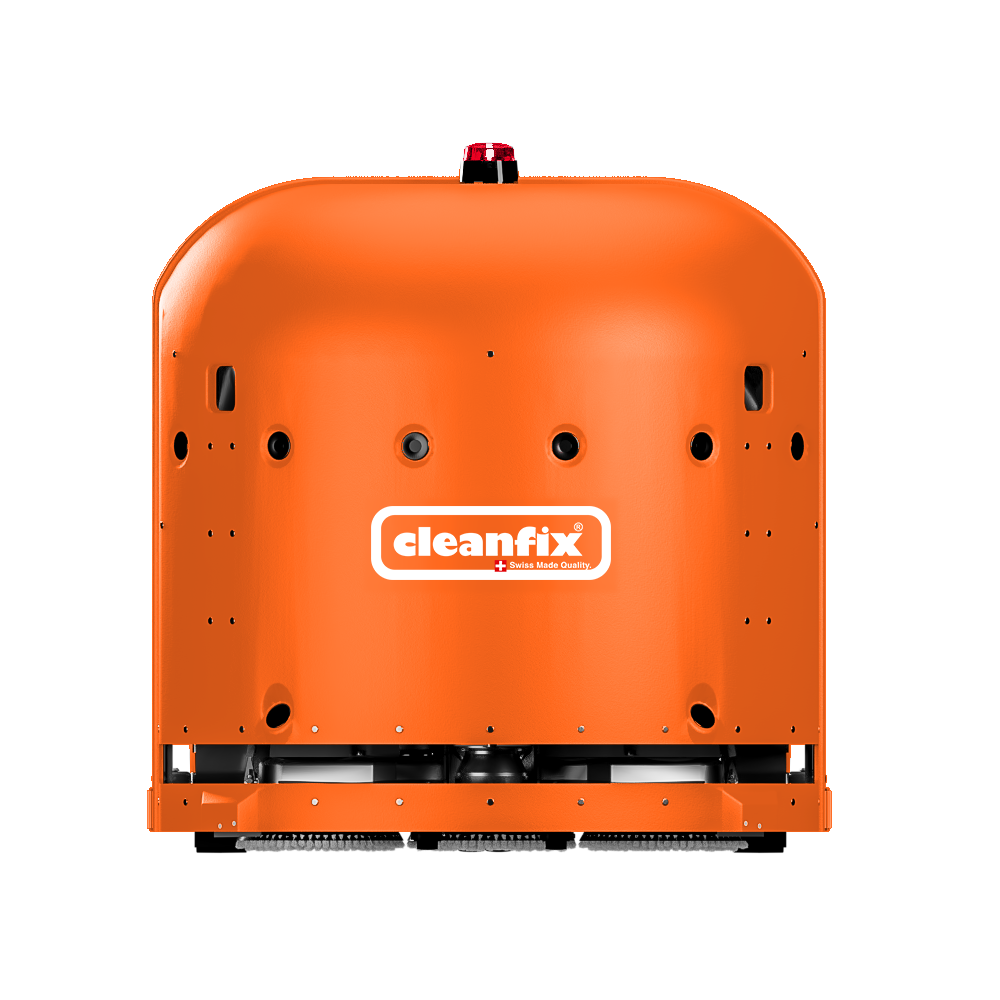 orange Cleanfix RA660 Navi robotic floor scrubber, scrubber drier